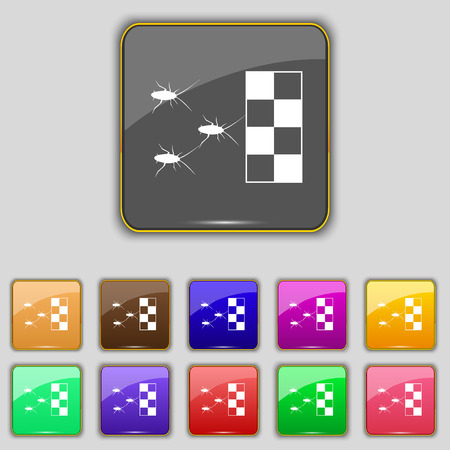 disgusting animal: cockroach races icon sign. Set with eleven colored buttons for your site. Vector illustration