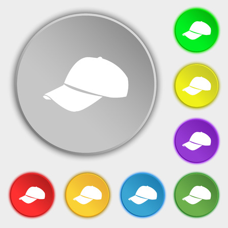 hat with visor: Baseball cap icon sign. Symbol on eight flat buttons. Vector illustration Illustration