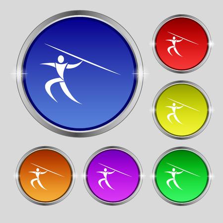 lanzamiento de jabalina: Deportes de verano, lanzamiento de jabalina icono de la muestra. s�mbolo redonda sobre los botones de colores brillantes. ilustraci�n vectorial