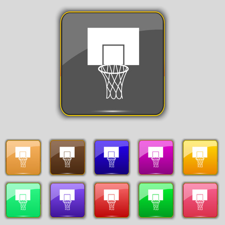 backboard: Basketball backboard icon sign. Set with eleven colored buttons for your site. Vector illustration