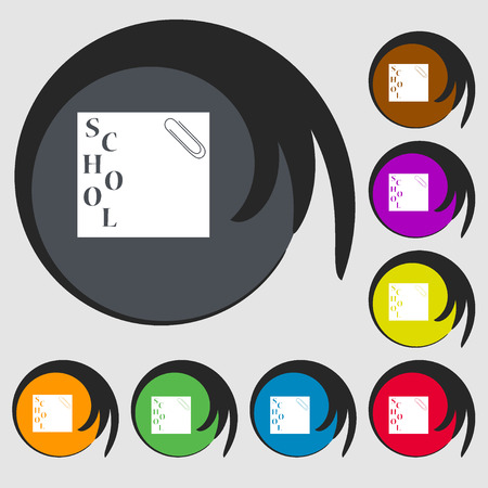 eight note: reminder sticker, note icon. Symbols on eight colored buttons. Vector illustration