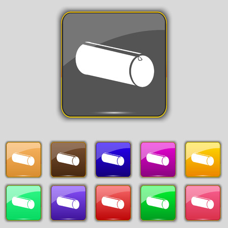 pencil case: pencil case icon sign. Set with eleven colored buttons for your site. Vector illustration Illustration
