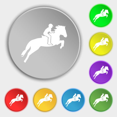 equestrian sport: Horse race. Derby. Equestrian sport. Silhouette of racing horse icon sign. Symbol on eight flat buttons. Vector illustration