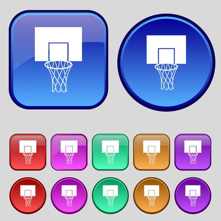 backboard: Basketball backboard icon sign. A set of twelve vintage buttons for your design. Vector illustration Illustration