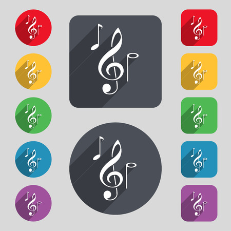 crotchets: musical notes icon sign. A set of 12 colored buttons and a long shadow. Flat design. Vector illustration