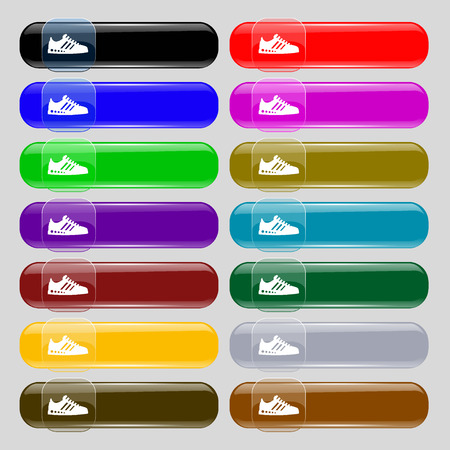 scamper: Sneakers icon sign. Set from fourteen multi-colored glass buttons with place for text. Vector illustration Illustration