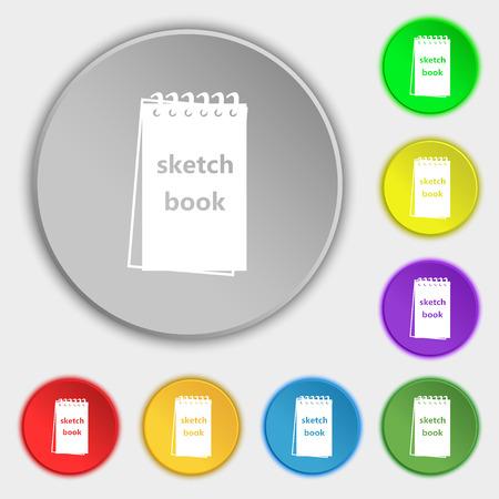 sketchbook: Sketchbook icon sign. Symbol on eight flat buttons. Vector illustration
