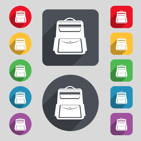 back pack: School Backpack icon sign. A set of 12 colored buttons and a long shadow. Flat design. Vector illustration