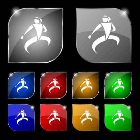 jujitsu: Karate kick icon sign. Set of ten colorful buttons with glare. Vector illustration