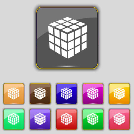 cube puzzle: A three sided cube puzzle box in 3D icon sign. Set with eleven colored buttons for your site. Vector illustration Illustration