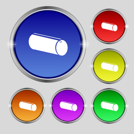 pencil case: pencil case icon sign. Round symbol on bright colourful buttons. Vector illustration