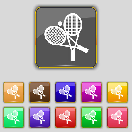eleven: tennis icon sign. Set with eleven colored buttons for your site. Vector illustration