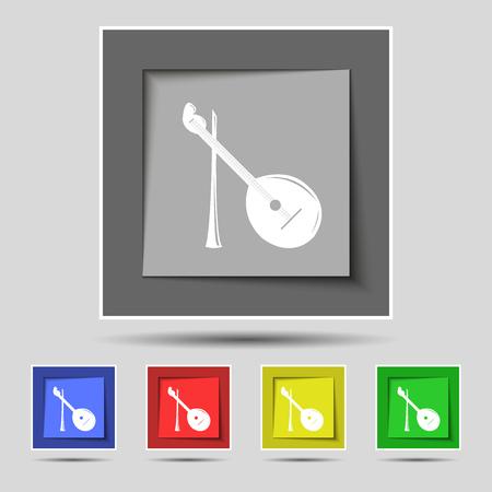 balalaika: Balalaika icon sign on original five colored buttons. Vector illustration