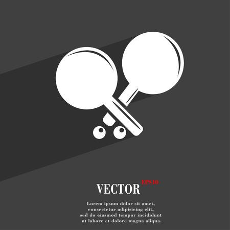 racquetball: Tenis símbolo cohete plana de diseño web moderno con una larga sombra y el espacio para el texto. ilustración vectorial