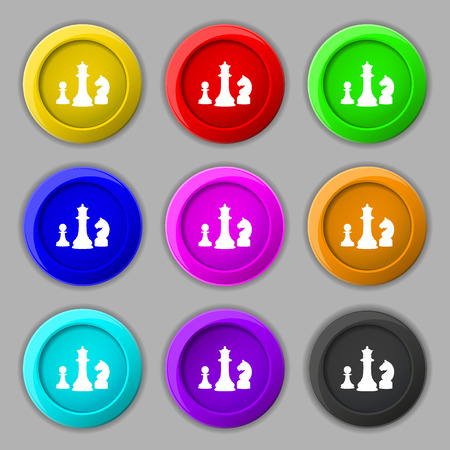sport mats: chess Game icon sign. symbol on nine round colourful buttons. Vector illustration