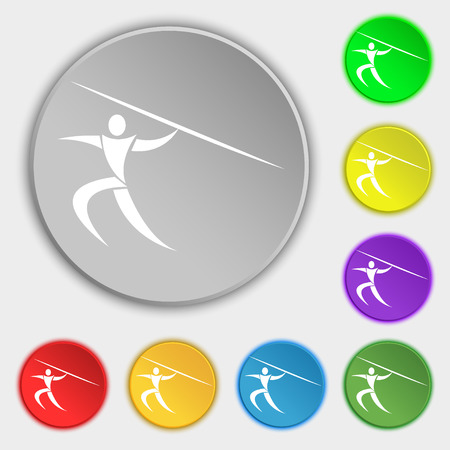javelin: Summer sports, Javelin throw icon sign. Symbol on eight flat buttons. Vector illustration