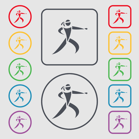 jujitsu: Karate kick icon sign. symbol on the Round and square buttons with frame. Vector illustration Illustration