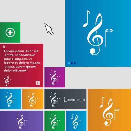 crotchets: musical notes icon sign. buttons. Modern interface website buttons with cursor pointer. Vector illustration Illustration