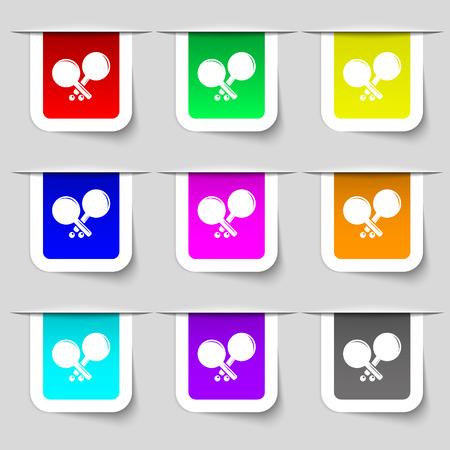 racquetball: Tenis icono de la muestra de cohetes. Conjunto de etiquetas multicolores modernos para su diseño. ilustración vectorial Vectores