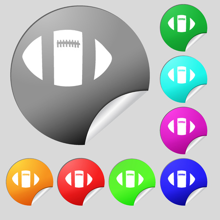 touchdown: rugby ball icon sign. Set of eight multi colored round buttons, stickers. Vector illustration