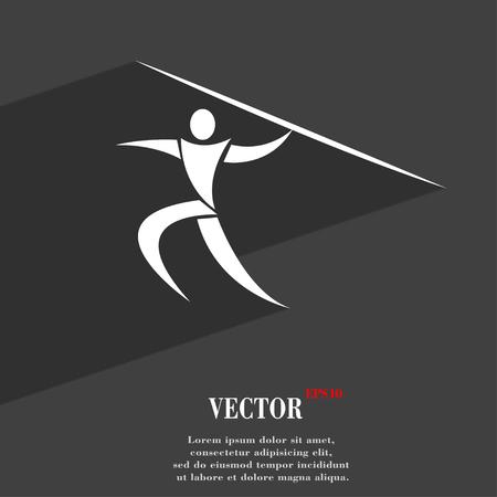 lanzamiento de jabalina: Deportes de verano, lanzamiento de jabalina símbolo de diseño web moderno plana con una larga sombra y el espacio para el texto. ilustración vectorial Vectores