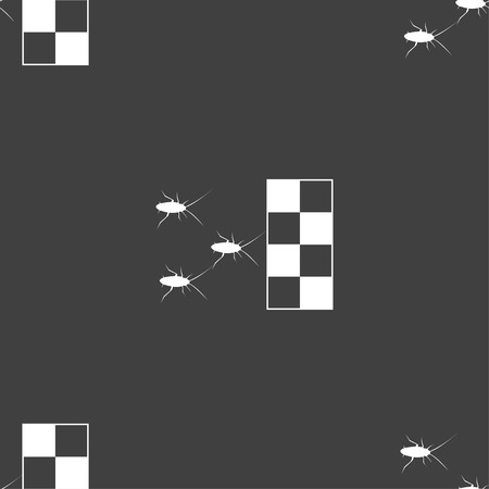disgusting animal: cockroach races icon sign. Seamless pattern on a gray background. Vector illustration