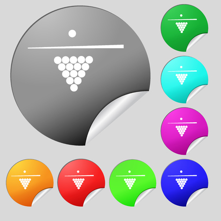 pool game: Billiard pool game equipment icon sign. Set of eight multi colored round buttons, stickers. Vector illustration