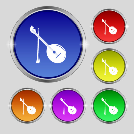 balalaika: Balalaika icon sign. Round symbol on bright colourful buttons. Vector illustration Illustration