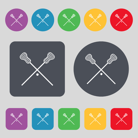 lax: Lacrosse Sticks crossed icon sign. A set of 12 colored buttons. Flat design. Vector illustration