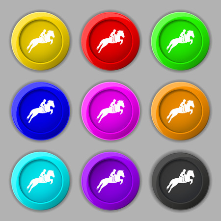 racing sign: Horse race. Derby. Equestrian sport. Silhouette of racing horse icon sign. symbol on nine round colourful buttons. Vector illustration