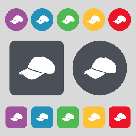 hat with visor: Baseball cap icon sign. A set of 12 colored buttons. Flat design. Vector illustration