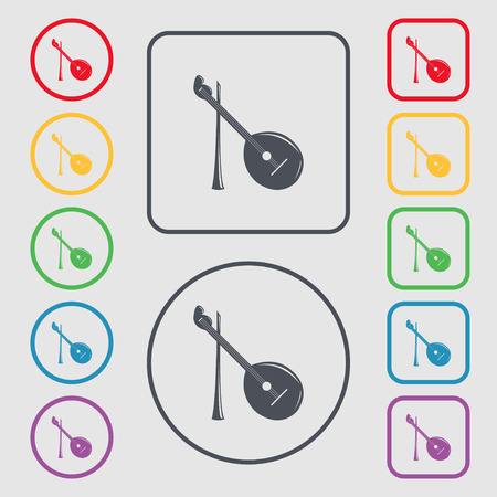 balalaika: Balalaika icon sign. symbol on the Round and square buttons with frame. Vector illustration