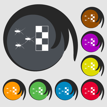 infestation: cockroach races icon. Symbols on eight colored buttons. Vector illustration
