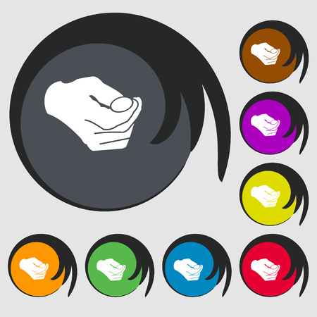 resolving: decision making by chance with coin, heads or tails icon. Symbols on eight colored buttons. Vector illustration