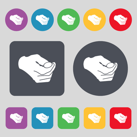 resolving: decision making by chance with coin, heads or tails icon sign. A set of 12 colored buttons. Flat design. Vector illustration