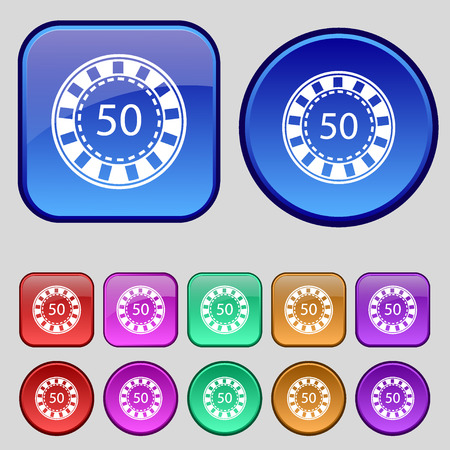 pursuit: Gambling chips icon sign. A set of twelve vintage buttons for your design. Vector illustration