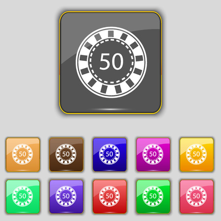 pursuit: Gambling chips icon sign. Set with eleven colored buttons for your site. Vector illustration