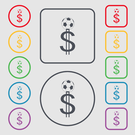 collector: betting on football, Money Collector, bookmaker icon sign. symbol on the Round and square buttons with frame. Vector illustration Illustration
