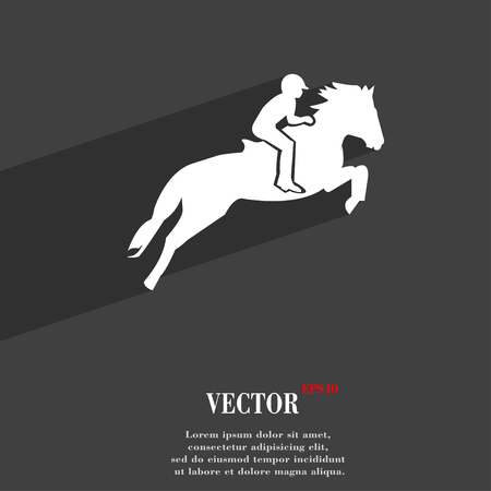 trot: Horse race. Derby. Equestrian sport. Silhouette of racing horse symbol Flat modern web design with long shadow and space for your text. Vector illustration