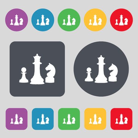 sport mats: chess Game icon sign. A set of 12 colored buttons. Flat design. Vector illustration