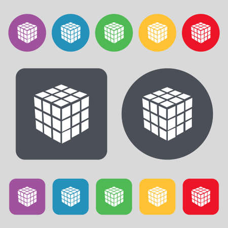 cube puzzle: A three sided cube puzzle box in 3D icon sign. A set of 12 colored buttons. Flat design. Vector illustration