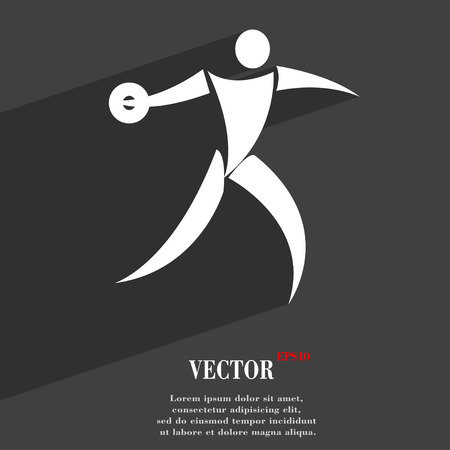 thrower: Discus thrower symbol Flat modern web design with long shadow and space for your text. Vector illustration Illustration