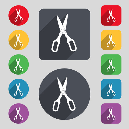 snip: Scissors icon sign. A set of 12 colored buttons and a long shadow. Flat design. Vector illustration