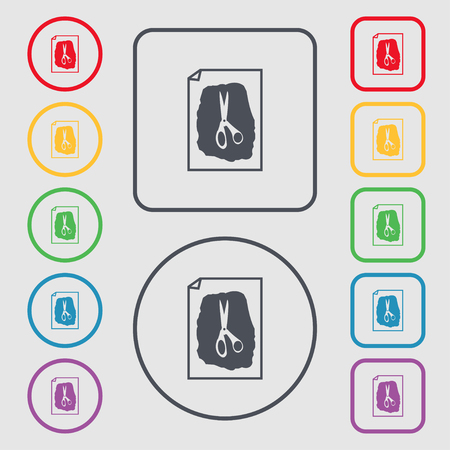 indecision: rock, scissors, paper poster icon sign. symbol on the Round and square buttons with frame. Vector illustration