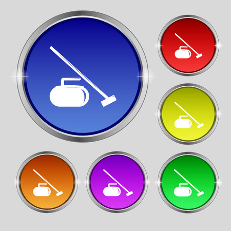 curling stone: The stone for curling icon sign. Round symbol on bright colourful buttons. Vector illustration