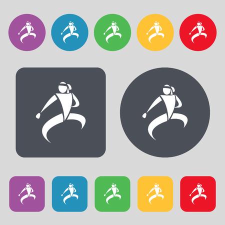 jujitsu: Karate kick icon sign. A set of 12 colored buttons. Flat design. Vector illustration Illustration