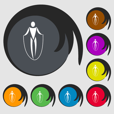jump rope: jump rope icon. Symbols on eight colored buttons. Vector illustration