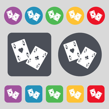 aces: Two Aces icon sign. A set of 12 colored buttons. Flat design. Vector illustration
