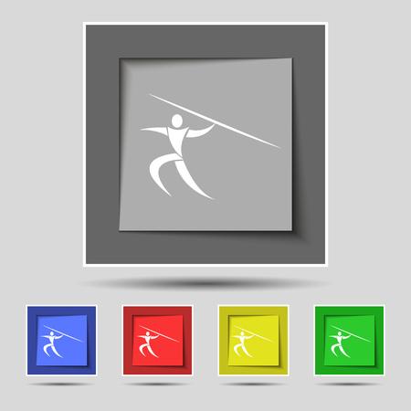 lanzamiento de jabalina: deportes de verano, Javelin icono de la muestra de banda de cinco botones de colores originales. ilustración vectorial Vectores