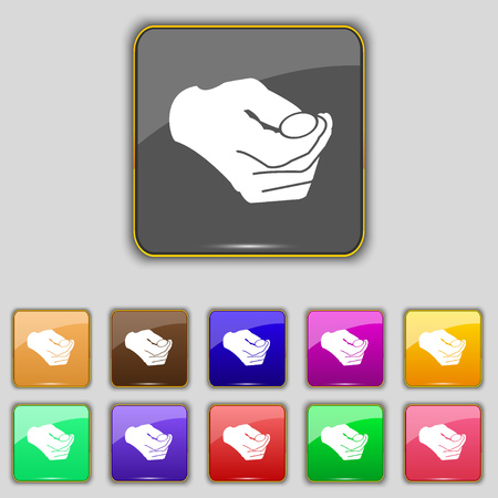 coin toss: decision making by chance with coin, heads or tails icon sign. Set with eleven colored buttons for your site. Vector illustration
